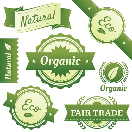 High quality design elements for Natural, Certified Organic, Eco, and Fair Trade packaging labels, stickers, or badges  Hassle-free objects are neatly organized in layers and groups  Vettoriali