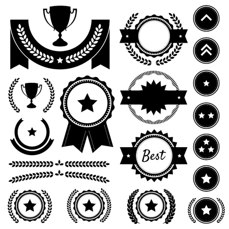 Set of achievement award silhouettes  Includes various badges, ranks, emblems, wreaths, star awards, achievement trophy, and victory banners  Great to represent winners in a competition  1st Place and other event placements