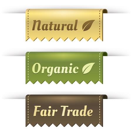 Stilvolle Fair Trade, Natural und Organic-Label-Tag gesetzt Diese Elemente aussehen wie Registerkarten über die Seite einer Tasche Blatt gefaltet wird auf Bannern, die umweltfreundliche Natur zu symbolisieren enthalten Könnte in Print ideal für Websites verwendet werden Verwendet Transparenz Vektorgrafik