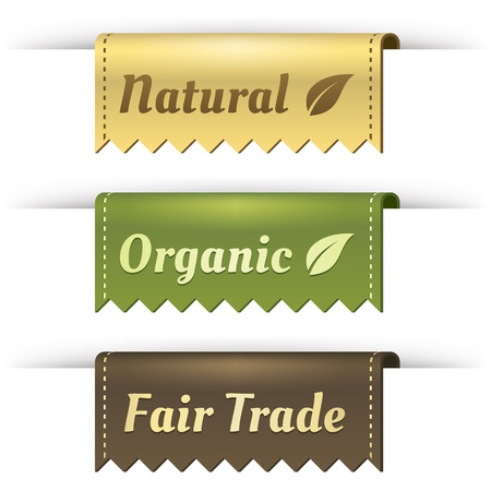 Stylish Fair Trade, Natural, and Organic label tag set  These elements look like tabs folded over the side of a pocket  Leaf is included on banners to symbolize the eco-friendly nature  Could be used in print  Great for websites  Uses transparency  Vector