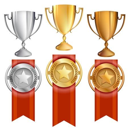 them: Illustrazione Vettoriale di trofei premio per il primo, secondo e terzo si classifica 1 � posto � oro, � d'argento 2 � posto, 3 � posto � di bronzo nastri rossi sono attaccati alle medaglie con le stelle su di loro grande per la rappresentazione della vittoria, premio, realizzazione, wi