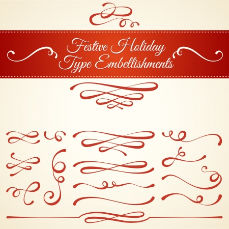 Set of elegant type embellishments for use as ornamental typographic elements  Festive calligraphic design style for seasonal holidays like Christmas and winter celebration  Fancy swirls and curls  Commonly used in invitations, greeting cards, labels, and 向量圖像