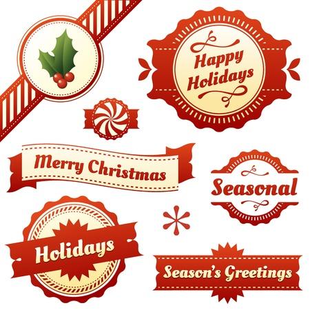 nastro angolo: Set di alta qualit�, etichette dal design elegante ed elementi per le vacanze di Natale stagione come stile retr� e moderno Include agrifoglio angolo nastro e carino testo icona menta comprende Buone Feste, auguri natalizi s, e Buon Natale Vettoriali