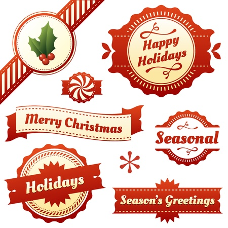 Set van hoge kwaliteit, stijlvol design labels en elementen voor seizoeninvloeden vakantie zoals Kerstmis Retro en moderne stijl Inclusief hulst corner ribbon en schattig pepermunt pictogram Tekst omvat Happy Holidays, Seizoen s Greetings, en Merry Christmas