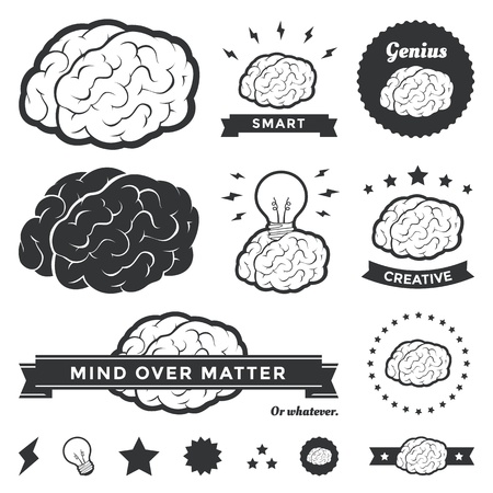 Vector illustration of various brain designs and badges Vectores