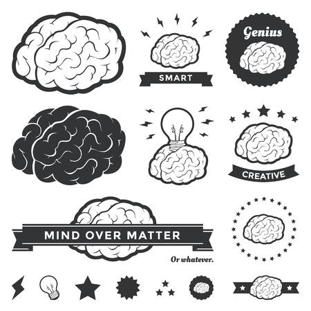 cerebro: Ilustración vectorial de diseños cerebrales diferentes y distintivos Vectores