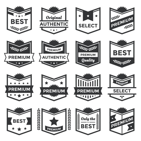 Collection of premium badges and packaging labels