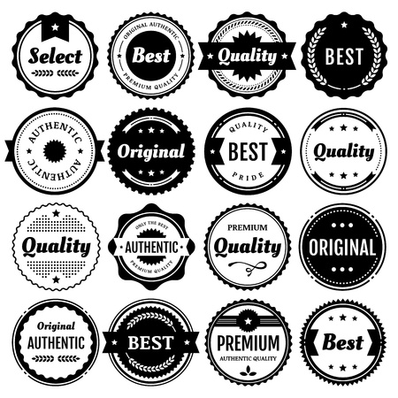 best quality: Collection of premium badges and packaging labels