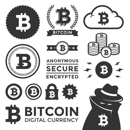bit: Illustration of various bit-coin design elements, badges, labels, and icons  Contains the two most popular versions of the bit coin currency symbol  Includes a shading criminal to represent the anonymous, black market aspect of the currency  The lock conv