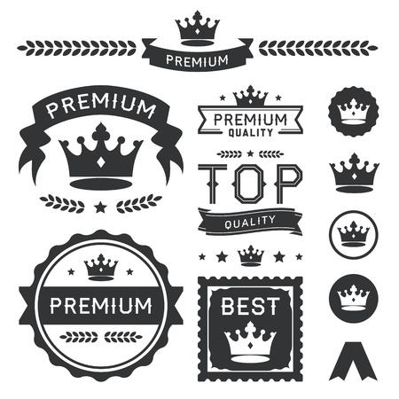 왕: 로얄 크라운 배지와 벡터 레이블 집합이 프리미엄 디자인 요소 컬렉션은 세련된 왕관 장식 포함, 배너, 상징, 아이콘, 기호 및 화환 분할 권한, 품질, 로열티, 킹, 퀸, 수상 및 CLAS을 표현하기위한 유용한 일러스트