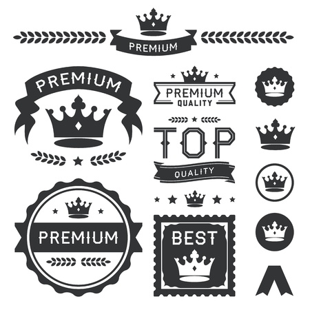 Set of royal crown badges and vector labels  This premium design element collection contains a stylish crown ornament, banners, emblems, icons, symbols, and wreath divider  Useful for representing authority, quality, royalty, king, queen, awards, and clas 向量圖像