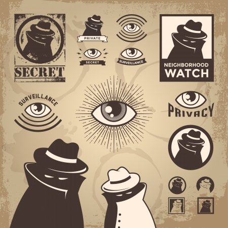 secret: Illustration of a sketchy criminal, secret spy, government surveillance, private detective, and undercover spy investigation.