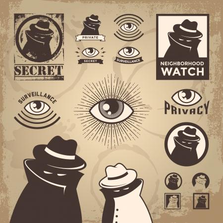 investigacion: Ilustraci�n de un esp�a, vigilancia del gobierno, detective privado y cubierto investigaci�n de espionaje secreto penal dudoso.