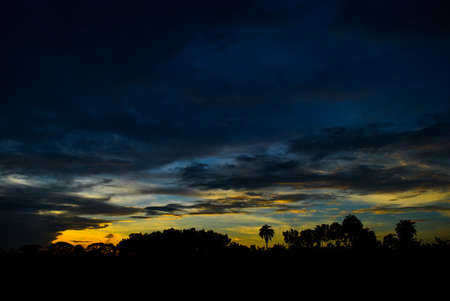 Wonderful Sunset in village side Imagens