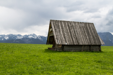 Lonely shepherd s hut in the Polish mountains   photo