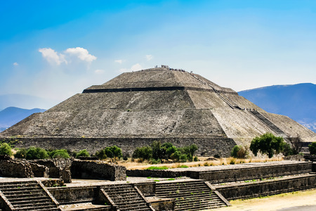 Teotihuacan Mexico. Pyramids of the Sun and Moon on the Avenue of the Dead