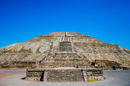 pre columbian: Teotihuacan Mexico. Pyramids of the Sun and Moon on the Avenue of the Dead