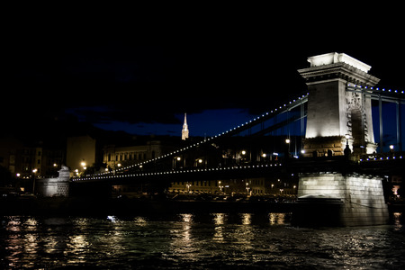 The Chain Bridge in Budapest in the evening