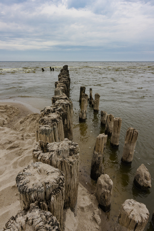 Breakwater on the coast of the Baltic Sea in Poland