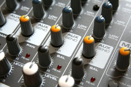 podcasting: Close-up of a mixer Stock Photo