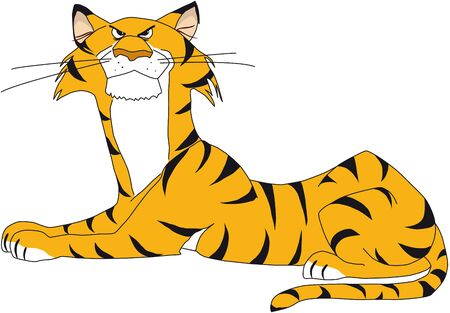 illustration of resting tiger, a little bit angry