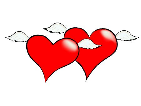 illustration of two hearts with wings