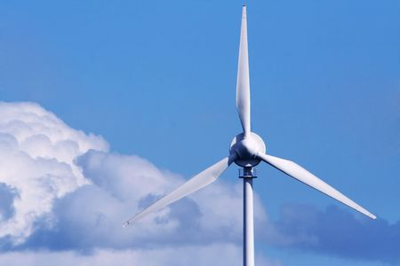 close up of an offshore wind turbine