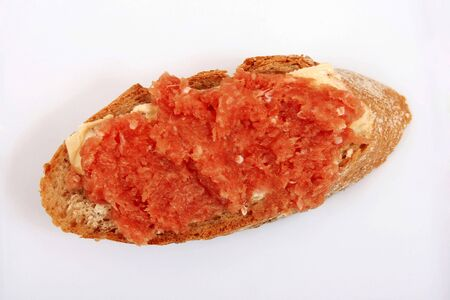 Slice of french bread with minced meat and butter Stock Photo