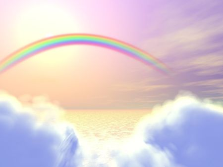 rainbow sphere: 3D Illustration of soft colored sky with rainbow and clouds above the sea