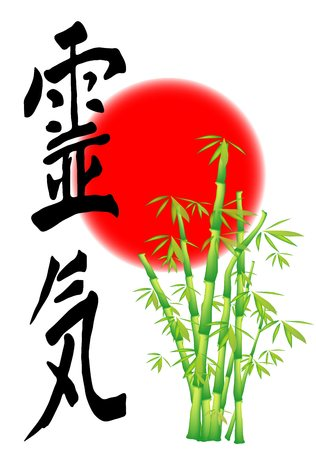 Reiki -  An illustration of some bamboo shoots and a red circle (sun). The ChineseJapanese characters for ling qireiki are written.