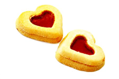 isolated cookies, heart shape