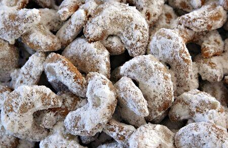 Close-Up of some vanilla cornets with powdered sugar