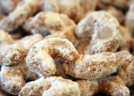 Close up of some vanilla cornets with powdered sugar Stock Photo