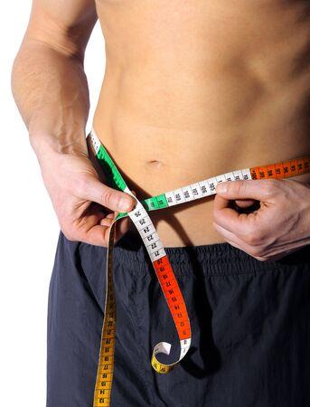 male abdomen with tape