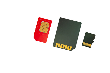 close-up different memory card SIM card on white background