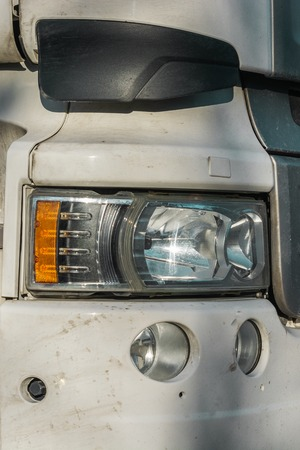 the front part of the truck cab lights close up Imagens