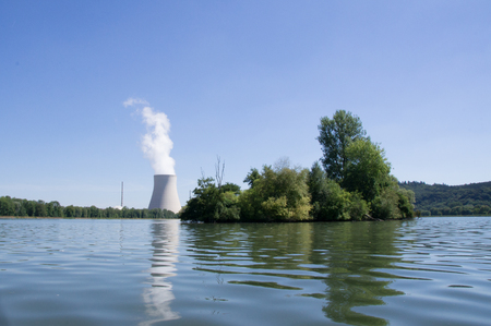 nuclear power plant: water tower of a nuclear power plant from the Isar river Stock Photo