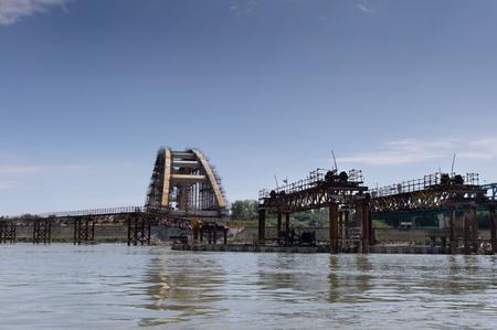 rebuild: ruins of an bombed danube bridge in Novi Sad
