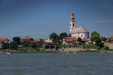 southeast europe: Church on the River Danube