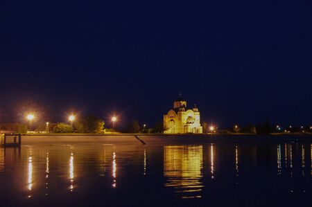 southeast europe: Orthodox Church Apatin - view from the danube Stock Photo