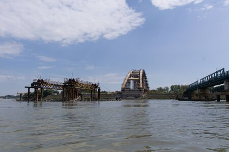 southeast europe: ruins of an bombed danube bridge in Novi Sad