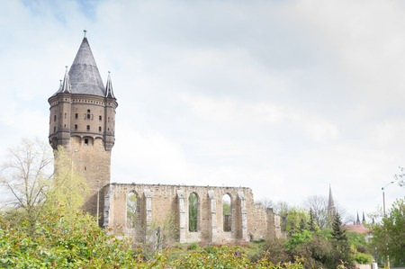 dilapidated: dilapidated St. Sixti church in Merseburg - converted in a water tower Stock Photo