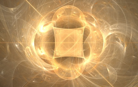 abstract shape, fractal, wreath of rays of light Stock Photo