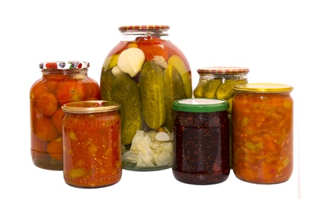 pickles from cucumbers and tomatoes in banks