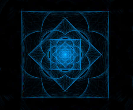 inexplicable: fractal pattern, a square in the neon-style