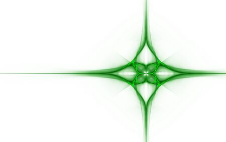 fractal pattern, weaving green lines in the shape of a cross Stock Photo