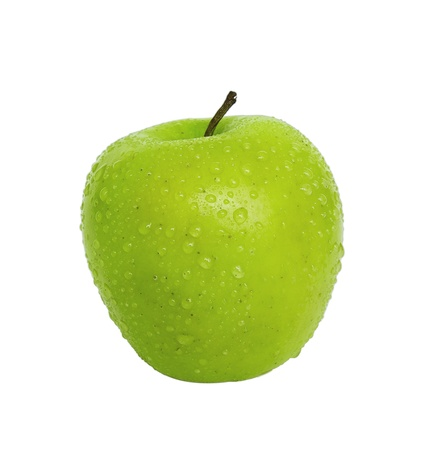 green apple with dew drops isolated on white background