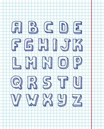 The alphabet written in pen on a sheet in a notebook Vector