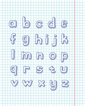 sketch alphabet drawn on the page notebook Vector