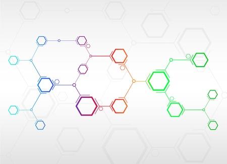 atomo: conectados por una celda de color Vectores